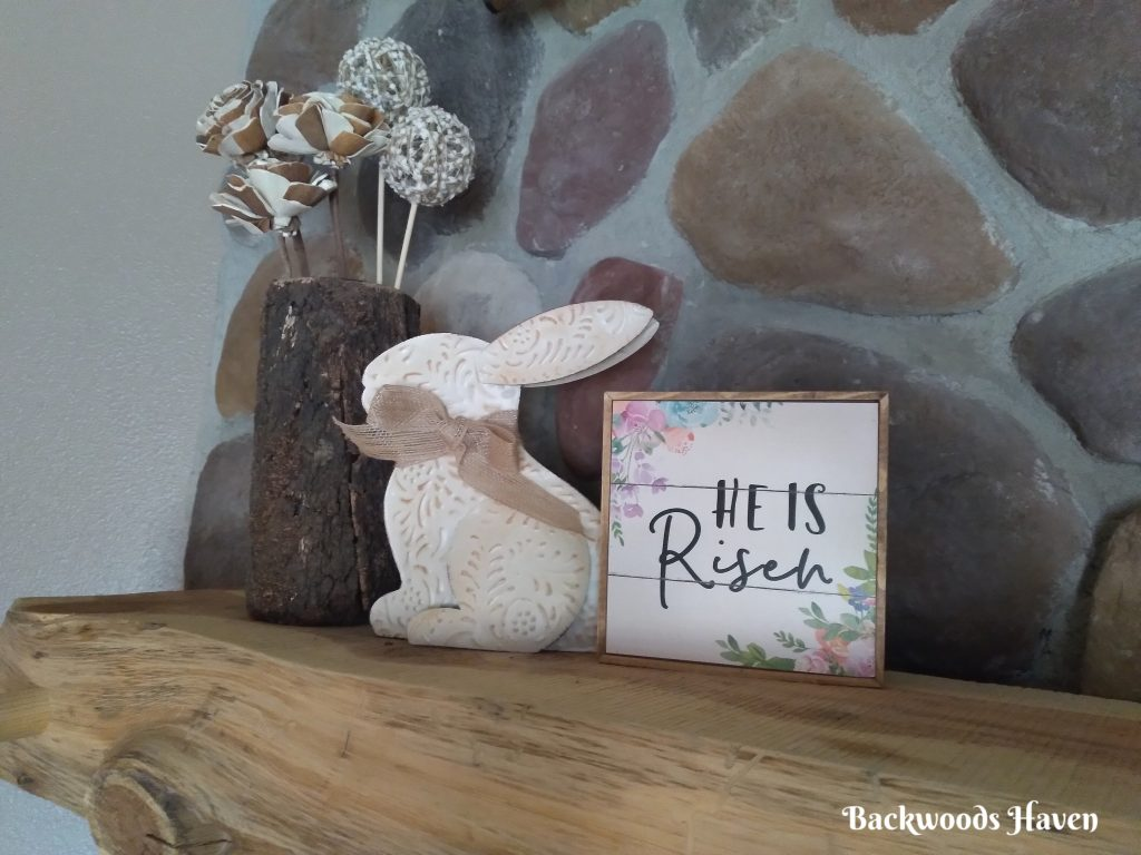 SIMPLE EASTER BUNNY WITH EASTER SIGN DECOR