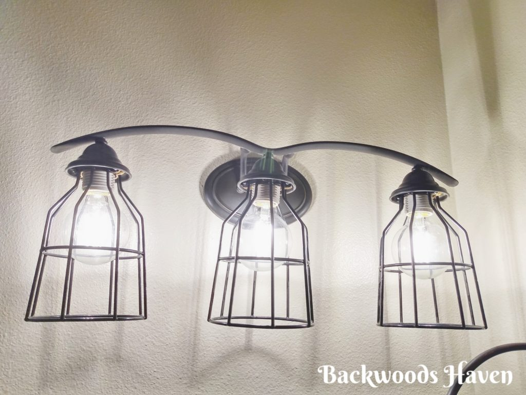 small bathroom refresh on a budget with a DIY light fixture