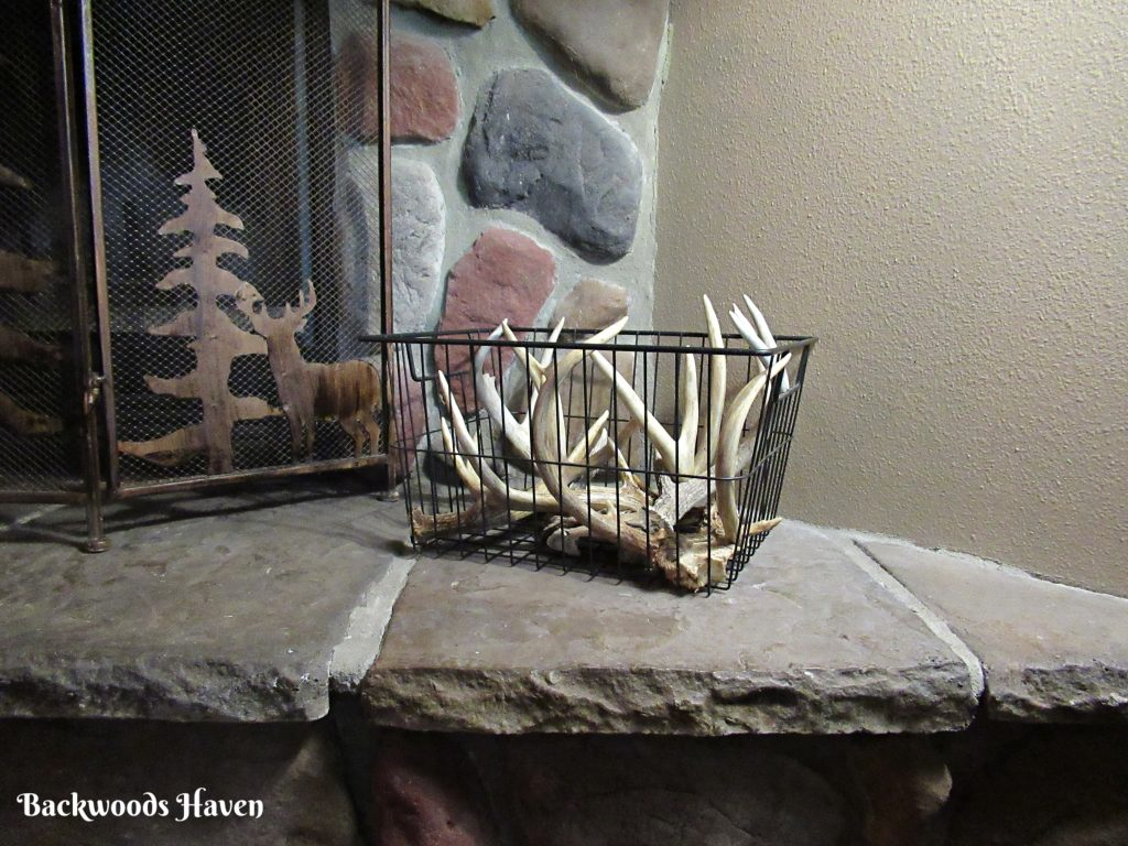antlers in wire basket