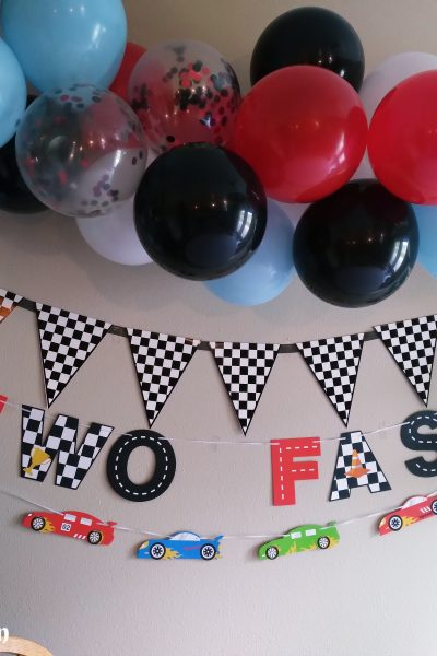 two fast race car birthday partry