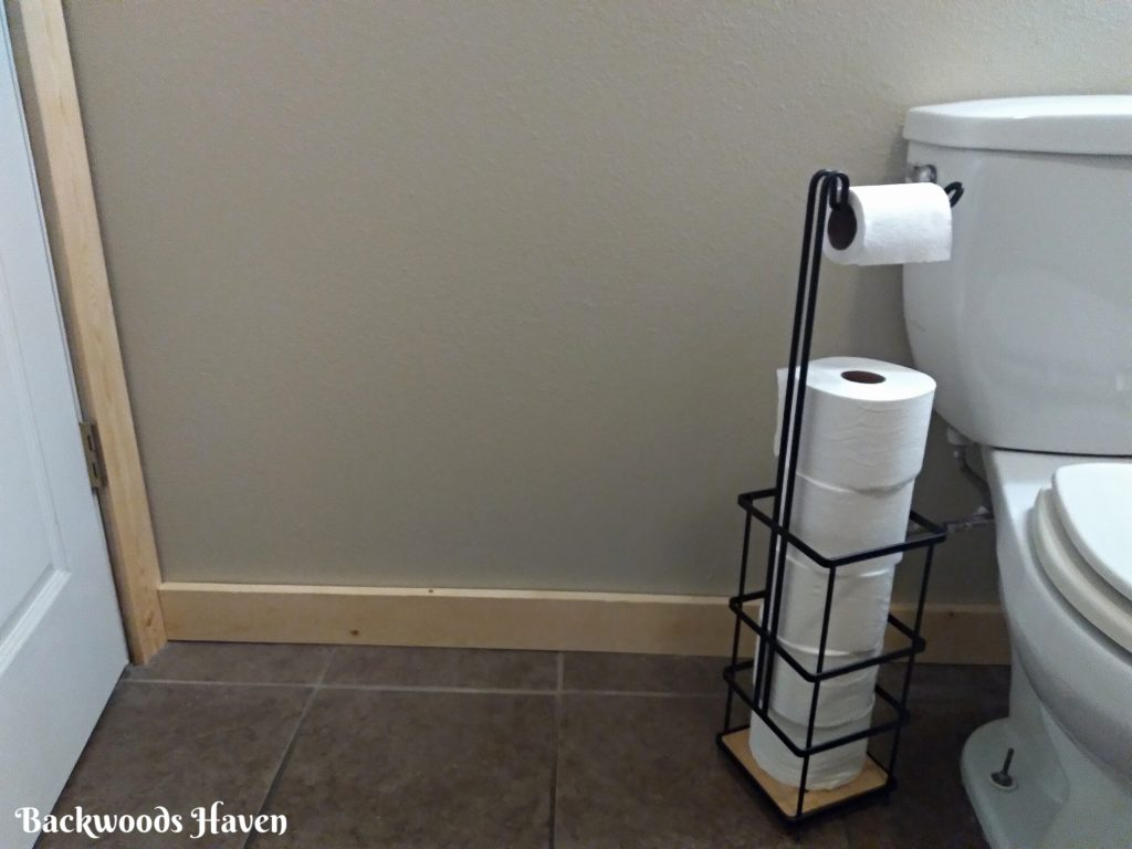small bathroom refresh on a budget with new trim